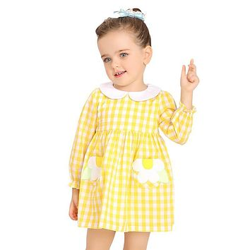 Baby Girls Dresses Yellow Plaid Appliques Flower 100% Cotton Cute Princess Dresses Girls Clothes Costumes For Girls School Dress
