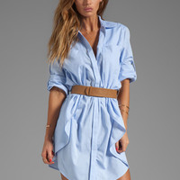 Halston Heritage Belted Shirtdress with Overlay in Chambray from REVOLVEclothing.com