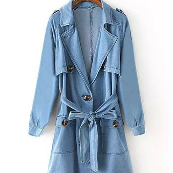 Blue Waist Tie Notched Collar Denim Trench Coat