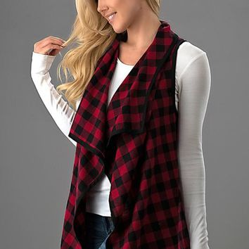 Checkered Fall Vest - Red