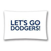Baseball Chants Let's Go Dodgers Twin Sides Printed Pillowcase Custom Baseball Sport 20x30 inches Zippered Rectangle Pillow Cover