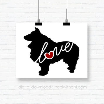 INSTANT DOWNLOAD: Sheltie (Shetland Sheepdog) Love - an original digital silhouette for wall-art, clip art, t-shirt transfers, scrapbooking