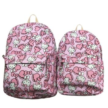 "2018 Qiucool Cute Backpack For Hello Kitty Prints Teenage Girl Book Shoulder Bag 12"" 15"" Travelling Backpack Canvas School Bags"