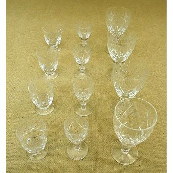 Etched Crystal Wine Glasses (3 sets of 4)