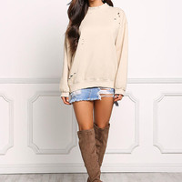 Beige Distressed Pullover Sweater Top