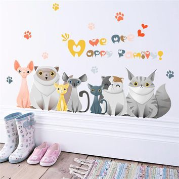 Kids 3D Vivid Mural Dog Cat Paw Wall Stickers