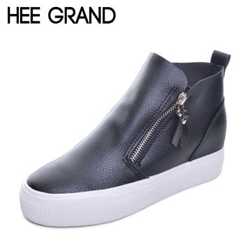 HEE GRAND Platform Women Boots 2017 Creepers British Style Ankle Boots Casual Shoes Woman Slip On Flats Size 35-40 XWX4068