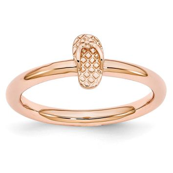 Rose Gold Tone Plated Sterling Silver Stackable 7.5mm Flip Flop Ring