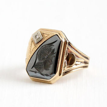 Vintage 10k Rosy Yellow Gold Roman Warrior Hematite Intaglio Diamond Ring - Size 8 Men's Art Deco 1940s Carved Cameo Gemstone Fine Jewelry