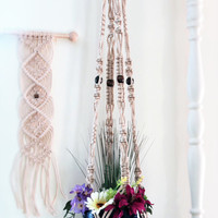 "Large macrame plant hanger, PEARL, hanging planter, pot holder, plant holder, hanging basket, white, modern, hippie, beads, 55"", hangers"