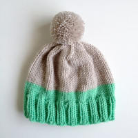 Highlighter Hat in Platinum & Mint Seafoam Green - MADE TO ORDER