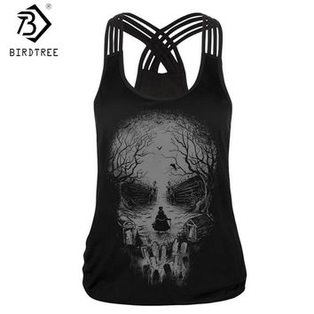 Skull Head Design 3D Print Tank Tops New 2018 Harajuku Sleeveless Black T Shirts Women Vest Casual Gothic Lady Clothings T7D752A