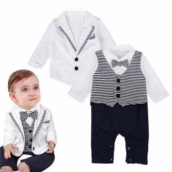 Puseky 2018 Autumn Gentleman Baby Boy Clothes Striped Romper+ Coat Outfits With Bow Tie Newborn Wedding Suit 0-12M