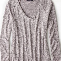 AEO Women's Feather Light V-neck Sweater (Pink)
