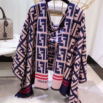FENDI Popular Women Men Stylish Cashmere Cape Scarf Scarves Shawl Accessories