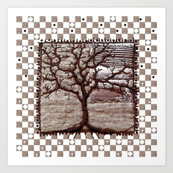 Winter tree in mauve Art Print by Bozena Wojtaszek