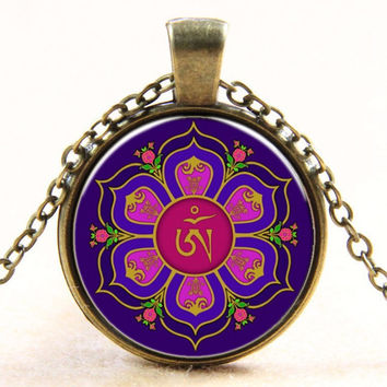 OM Pendant Necklace ~ Silver Plated Colorful Murano Glass~10K Gold Plated