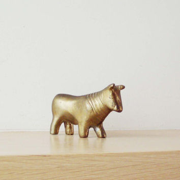 Brass bull sculpture, small sculpture of oxiidised solid brass, monogrammed item