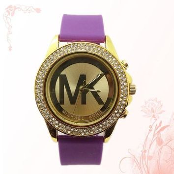 ONETOW MK Michael Kors men and women new stylish fashion candy strap F-SBHY-WSL  Purple Watchband + Gold Dila + Gold Case