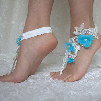 İvory Lace and Turguoise Beach Wedding Barefoot Sandals, french lace, Nude shoes, Wedding, Bridal Anklet lace shoes , Belly Dance