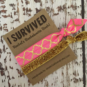 Quarterfoil/Gold Glitter I SURVIVED - Custom Bachelorette Party Favors - Hair Tie Favor - Wedding - Choose your color