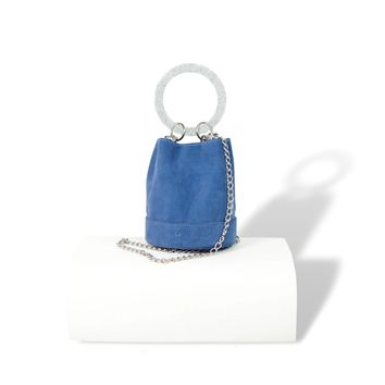 Designer Blue Suede Bucket Bag For Women
