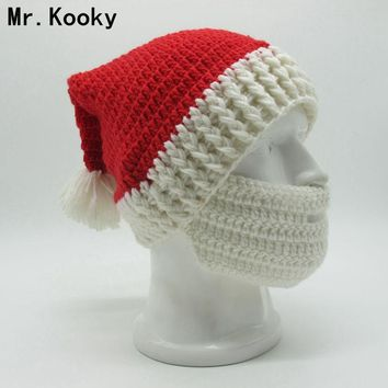 Mr.Kooky Winter Crocheted Men's Santa Claus Father Xmas Hats With Colourful Beard Handmade Christmas Present Party skull Beanies