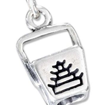 Sterling Silver Three Dimensional Chinese Food Take-Out Box Charm
