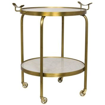 Prentiss  Side Table with Wheels, Gold, Metal and Quartz