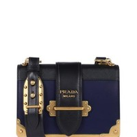 Prada Cahier Blue Saffiano Leather Cross Body Bag 1% off retail