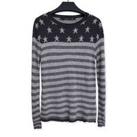 Fashion Slim Striped Mosaic Knit Shirt