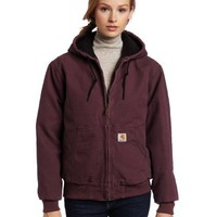Carhartt Women's Quilted Flannel Lined Sandstone Active Jacket WJ130,Dusty Plum,X-Small