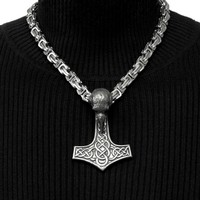 Large Tribal Raven Head Mjolnir with Ancient Artifact Finish on Byzantine Design Necklace