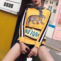 """Gucci"" Women Fashion Letter Multicolor Stripe Tiger Embroidery Long Sleeve Knit Sweater Tops"