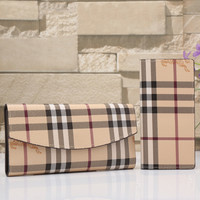 Burberry Women Tartan Leather Buckle Wallet Purse Two Piece Set