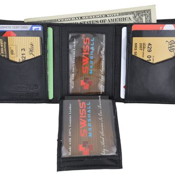 Swiss Marshal Men's Trifold Genuine Leather Center Flap Credit Card ID Holder Wallet SM-P2855