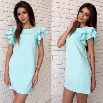 Butterfly Sleeve Sexy Backless Dress