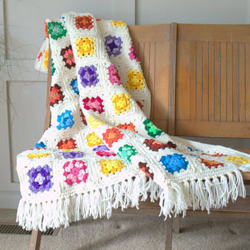 Colorful Afghan Throw Blanket, Crochet Granny Square Afghan, Boho Throw Blankets, Brightly Colored Lap Blanket