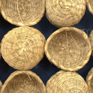 Wicker and Bamboo Wall Basket, Boho Wall Hanging,  Farmhouse Wall Decor