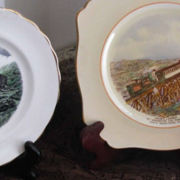 Jonroth England, Staffordshire Royal Winton, New Hampshire Mt Washington Cog Railway, Vintage Commemorative Plates, Set/2