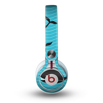The Teal Smiling Black Whale Pattern Skin for the Beats by Dre Mixr Headphones