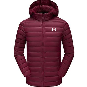 Under Armour Men Zipper Cardigan Jacket Coat Windbreaker Thin And light Hoodie Wine Red