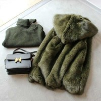 New Style High-end Fashion Women Faux Fur Coat  S5