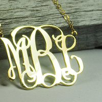 "2.5"" Monogram necklace, 1.75 inch monogram necklace, Monogrammed Gift, 2 inch monogram necklace, 18k gold monogram necklace, MBL"