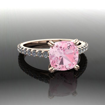 Cushion Cut Pink Topaz and Diamond Engagement Ring 2.90 CTW
