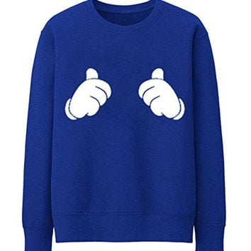 THUMBS UP ALL ABOUT ME MICKEY MOUSE HANDS Unisex Crewneck Sweatshirt Top Funny - Blue