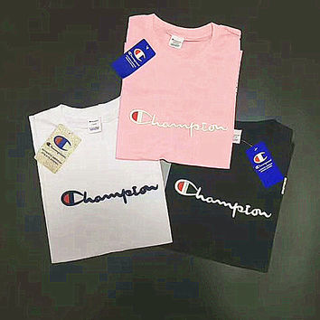 Champion embroidery couple top tee blouse T-shirt H-A-XYCL