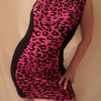 MJCREATION dress pink leopard and black soft knit custom made to order