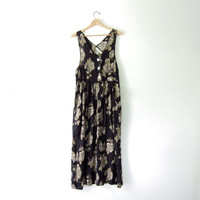 vintage 90s Express dress. Floral maxi dress. pocket dress. modern day long dress.