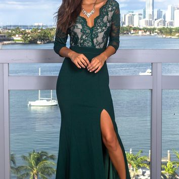 Hunter Green Lace Top Maxi Dress with 3/4 Sleeves